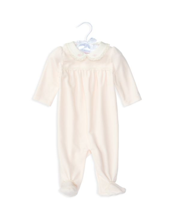 Ralph Lauren Childrenswear Infant Girls' Lace Trimmed Velour Footie - Sizes Newborn-9 Months