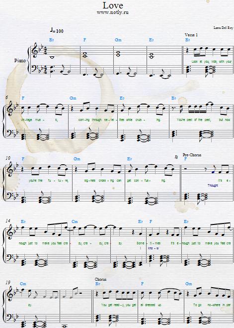 Lana Del Rey Love Download Pdf Piano Sheet Music Piano Sheets