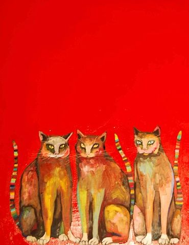 Three Cats in Red - by Eli Halpin    ~Oil