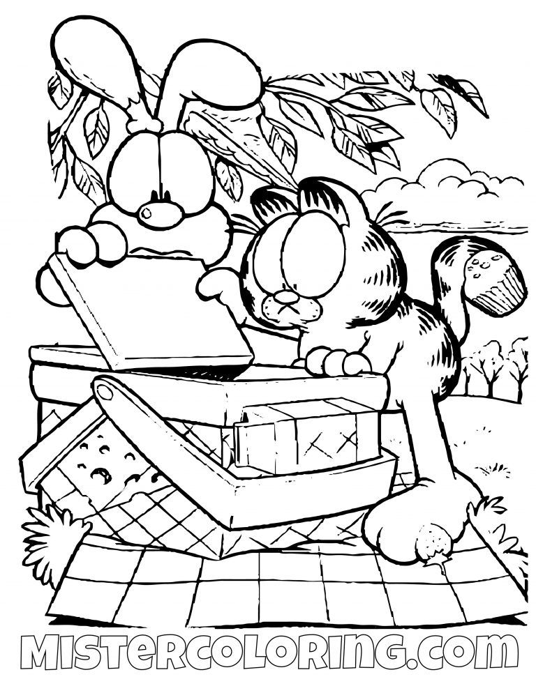 Garfield And Odie Looking Into A Picnic Basket Coloring Page Com
