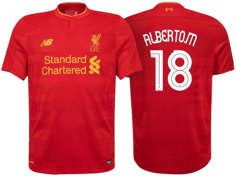 Liverpool #18 Alberto Moreno 2016-17 Home Jersey