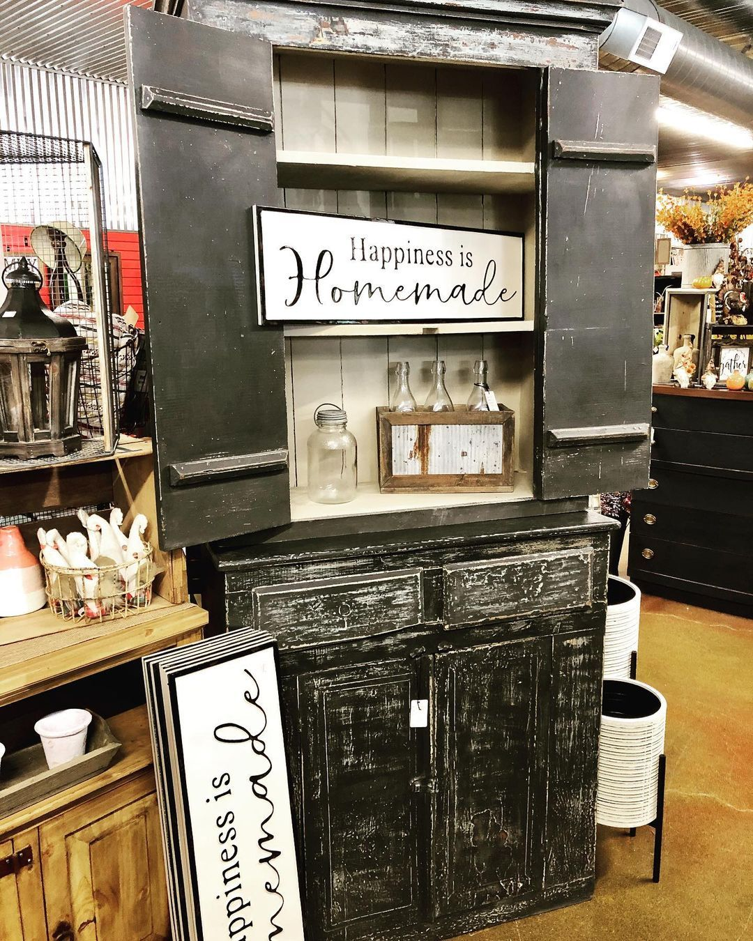 """Modern Barnyard on Instagram: """"Repurposed primitive hutch with Graphite and Country Grey Annie Sloan Chalk Paint! #anniesloanchalkpaint #anniesloan @anniesloanhome…"""""""