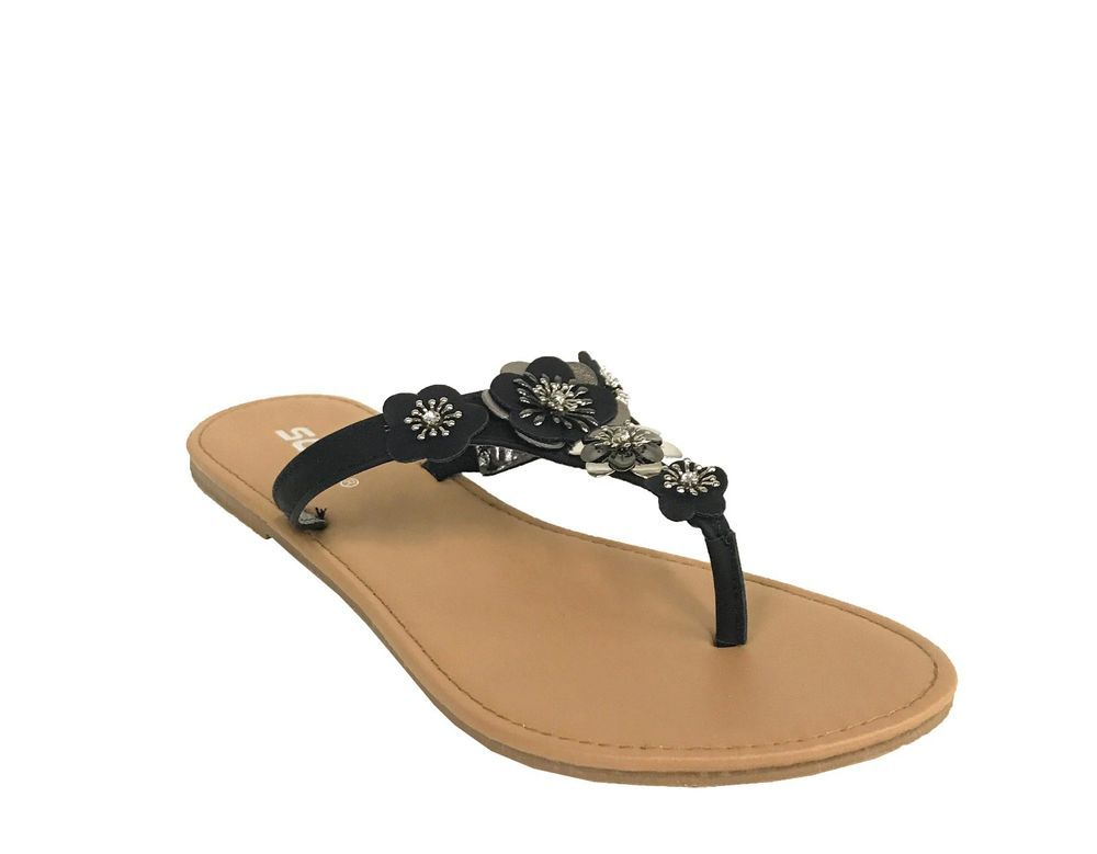 58582c58d2dc Women s Cherry Blossom Metallic Thong Flat Sandal in Black Leatherette   Soda  Thong  Casual