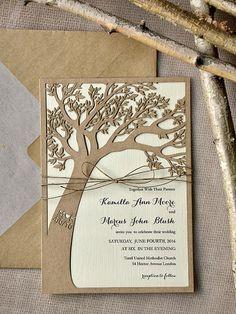 Benutzerdefinierte Liste (20) Rustikal Hochzeitseinladung, Laser Cut Baum  Einladung Eco Chic Hochzeitseinladungen, 4lovepolkadots