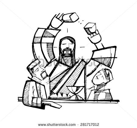 stock-vector-hand-drawn-vector-illustration-or-drawing-of-jesus-christ-sharing-eucharist-bread-with-two-of-his-281717012.jpg (450×420)
