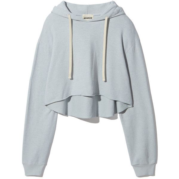 Oversized Cropped Hoody ❤ liked on Polyvore featuring tops