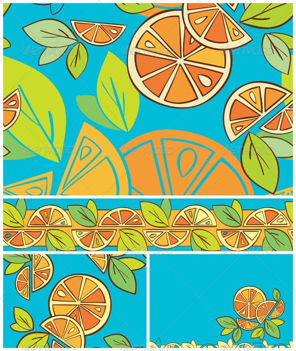 Citrus Seamless Patterns and Borders