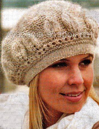 берет спицами из мохера Knitting зимние шапки вязание и шапочка