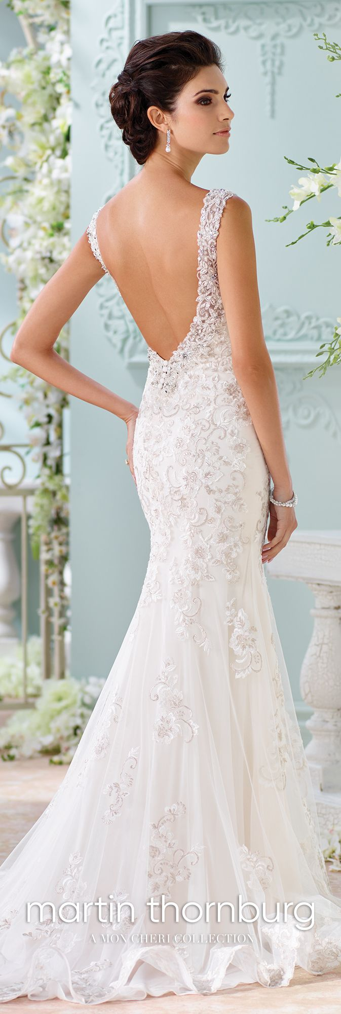 Fit and flare handbeaded lace wedding dress colesha