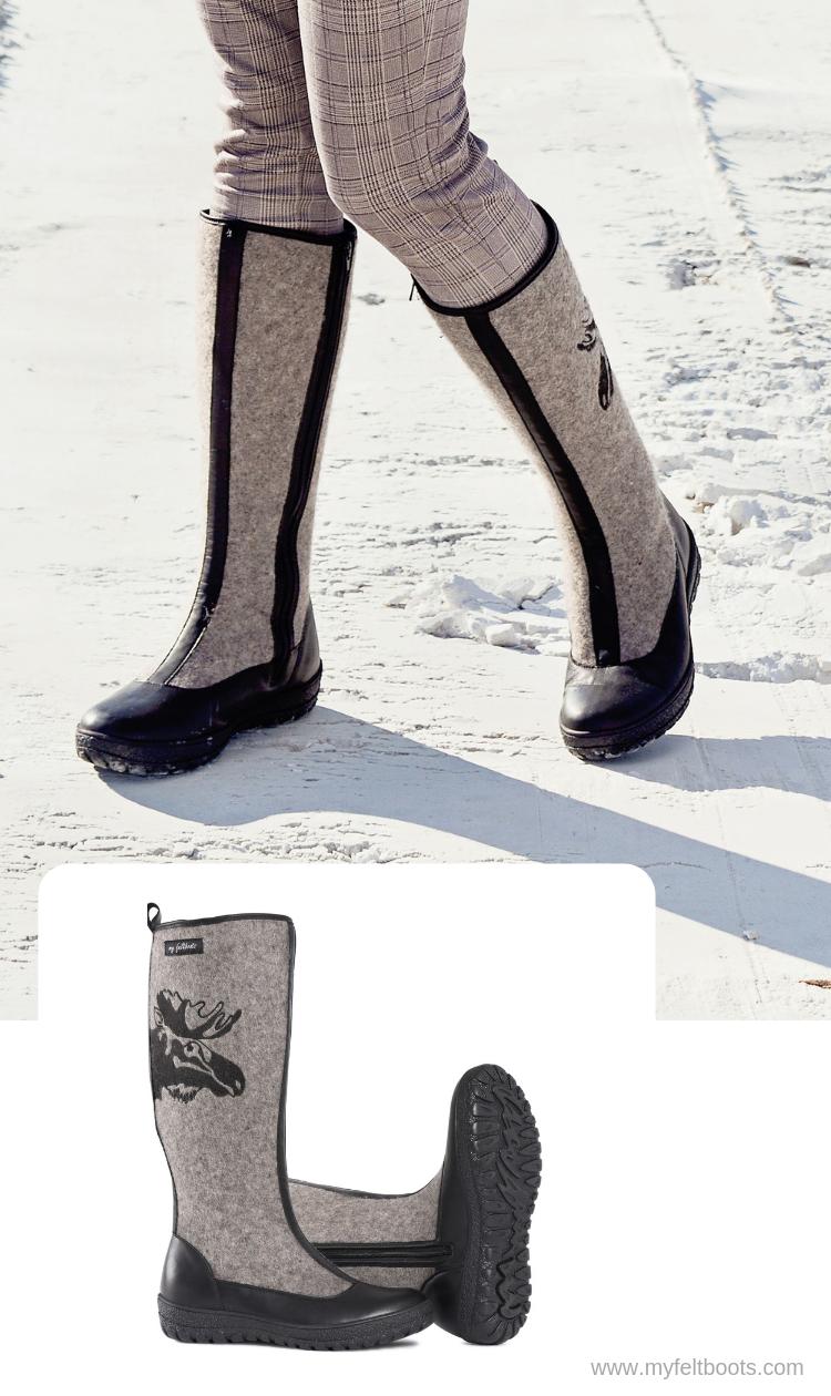 354dc0199413c Women Winter Boots, Valenki, Grey Felt Shoes, Felt Boots Moose ...