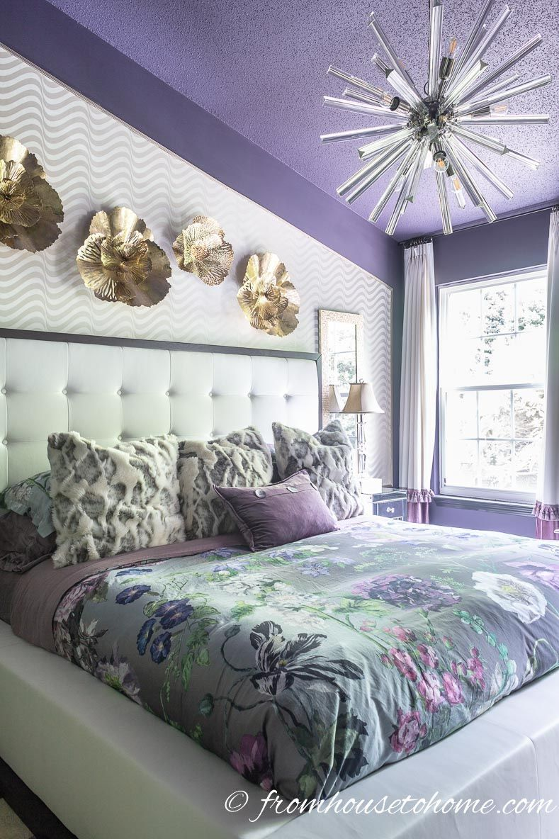 This Purple White And Gold Master Bedroom Is Gorgeous I Love The Sputnik Chandelier Fromhousetohome Bedroomideas Bedroomdesign Bedroomdecor Color