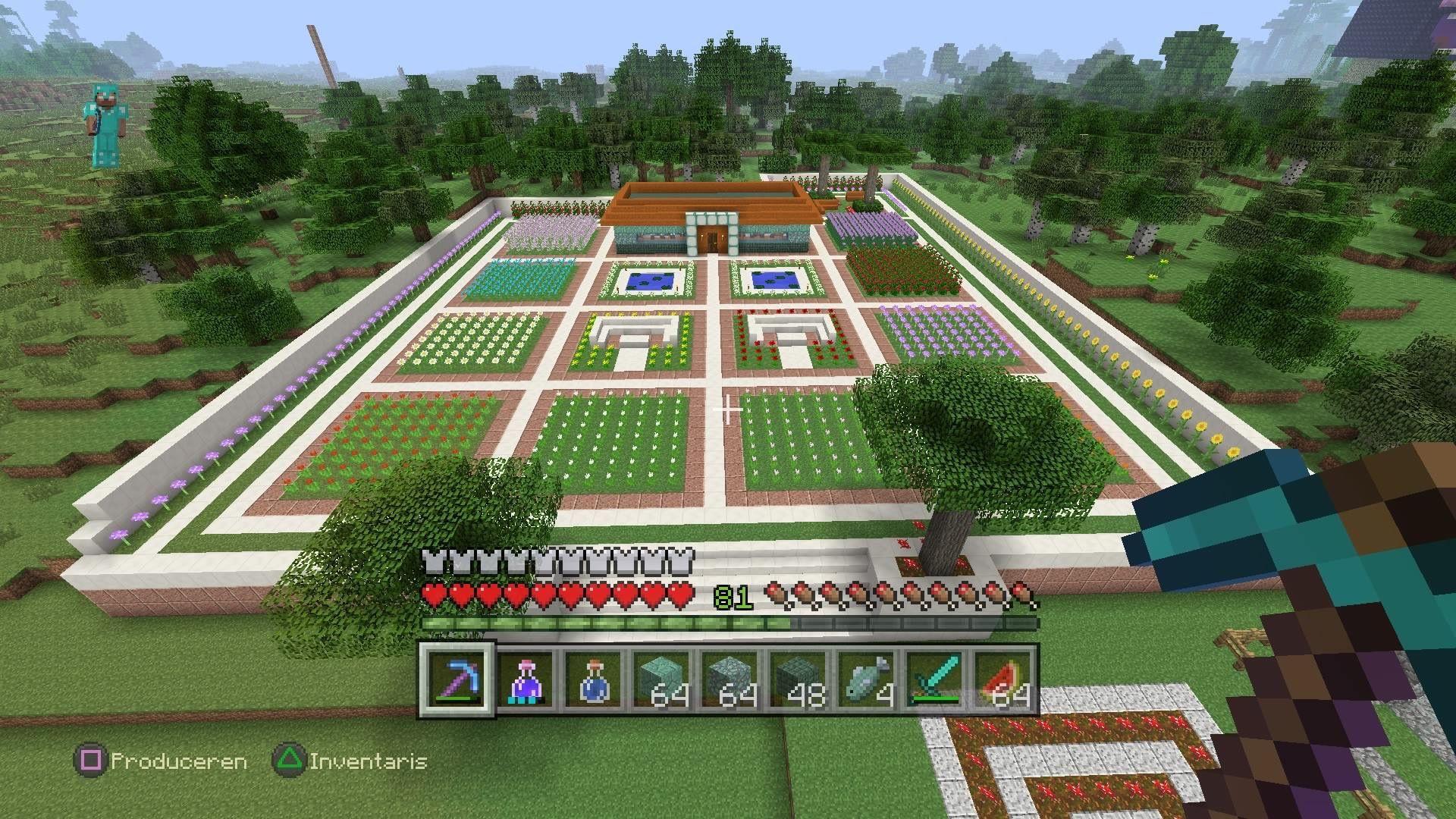 gorgeous minecraft flower garden created by my 9 year old son built in survival modus - Minecraft Garden