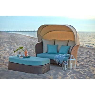 Hampton Bay Deerfield All Weather Wicker Patio Day Bed With Blue Cushions