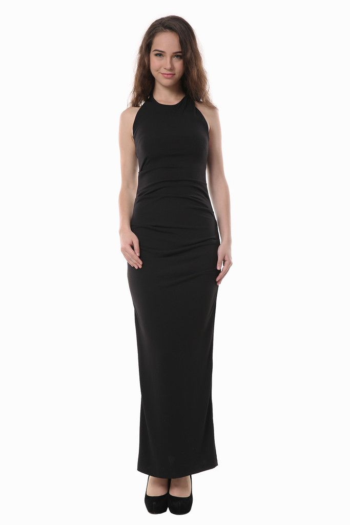 Slim Fit Sexy Black Backless Maxi Dress Free First Class Word Wide
