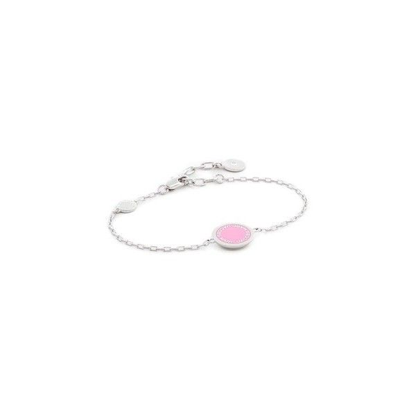 Marc Jacobs Enamel Logo Disc Bracelet (200 ILS) ❤ liked on Polyvore featuring jewelry, bracelets, pink, enamel bangle, marc jacobs jewelry, charm bangles, enamel charms and marc jacobs