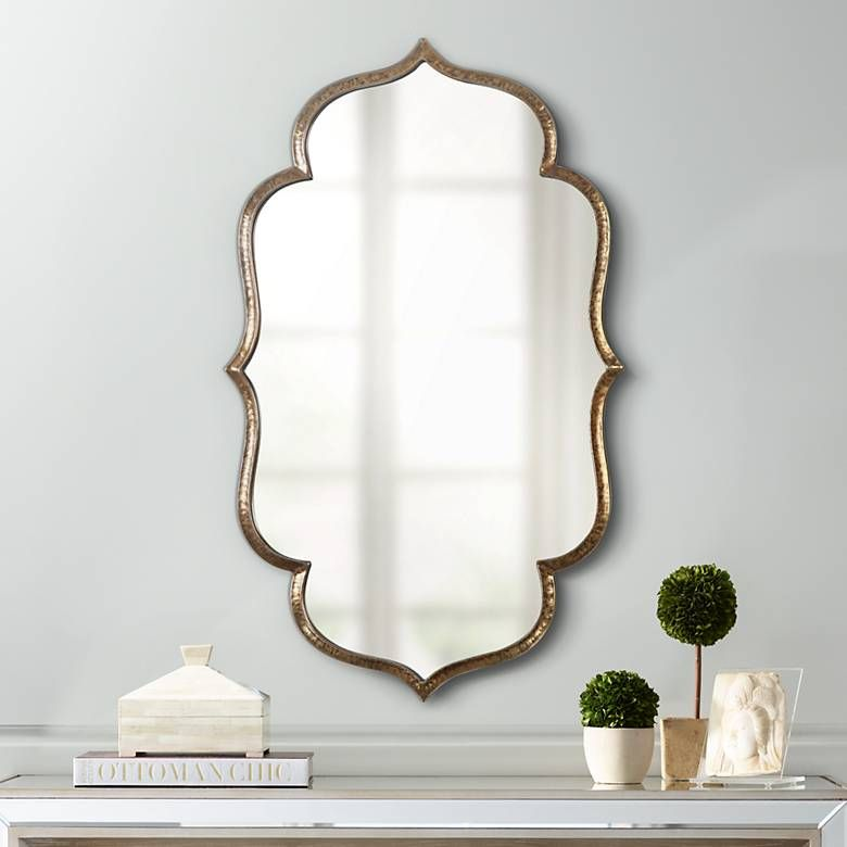 Zina Antiqued Gold 23 3 4 X 39 1 4 Wall Mirror 14g56 Lamps