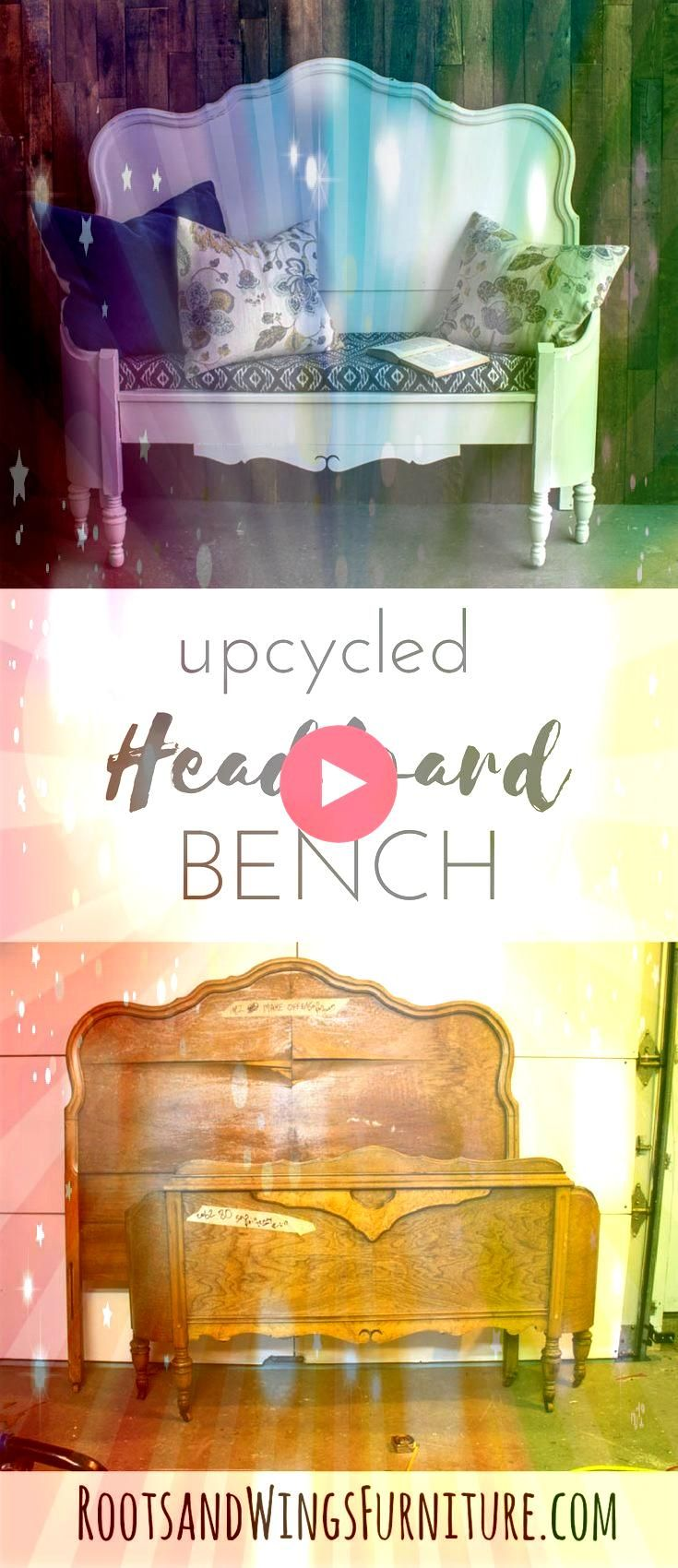 Headboard Bench  Roots Learn how to make a headboard bench Repurposing an old headboard View the tutorial hereLearn how to make a headboard bench Repurposing an old headb...