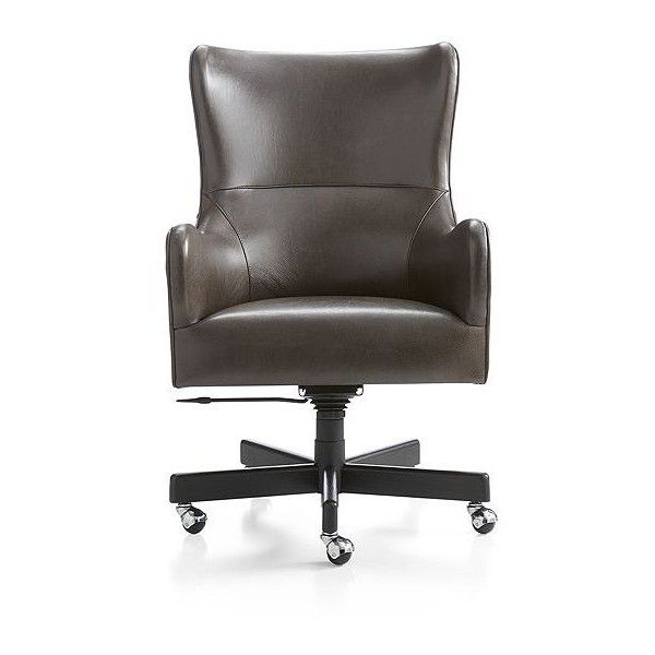 Crate Barrel Liv Leather Wingback Office Chair 9 090 Ron Liked On Polyvore