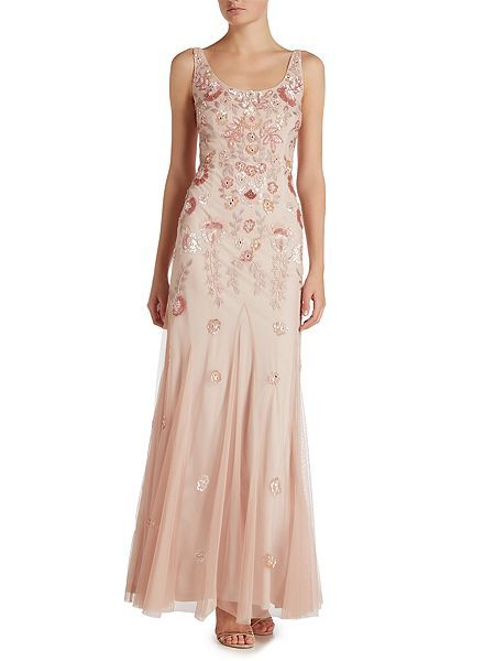 Adrianna Papell Embellished Gown With Fl Detail Blush House Of Fraser