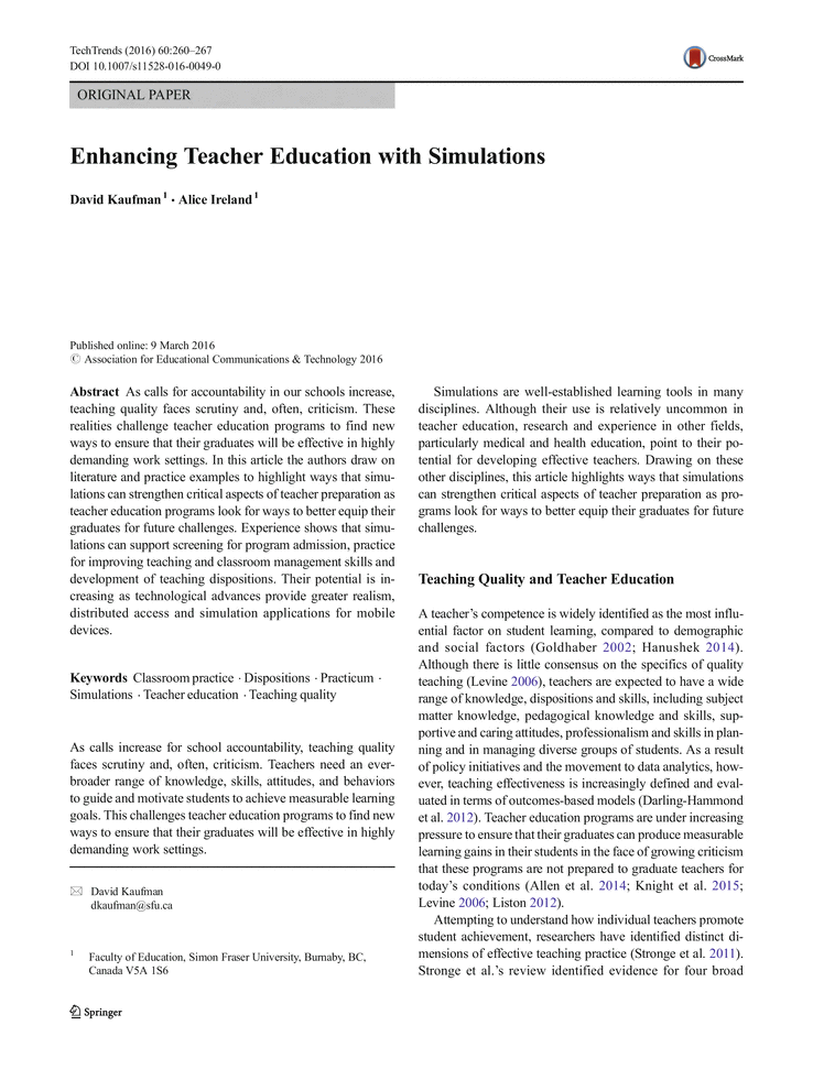 Enhancing Teacher Education With Simulations Literary Essay Resume Skills Resume Skills Section