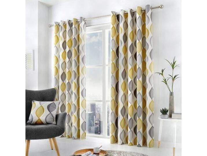 Vorhang Set Mykal Mit Osen Blickdicht Ready Made Eyelet Curtains Room Darkening Curtains Yellow Grey Curtains