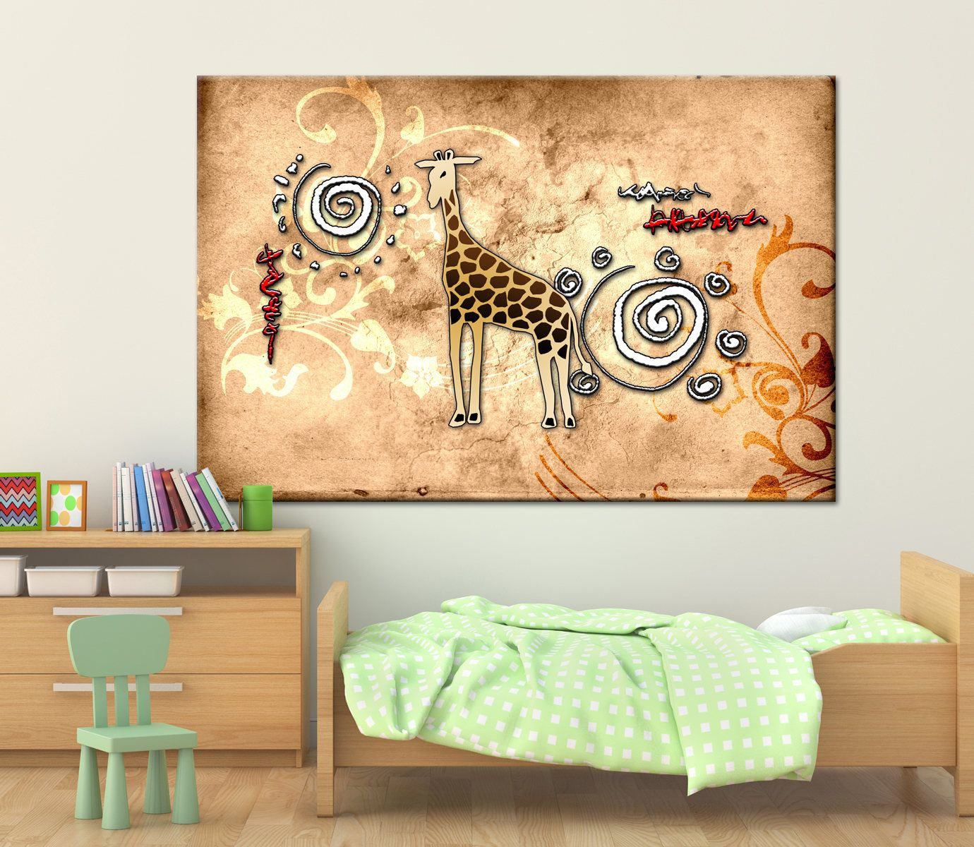 African motive ethnic decoration Multi Panel Canvas Print giraffe ...