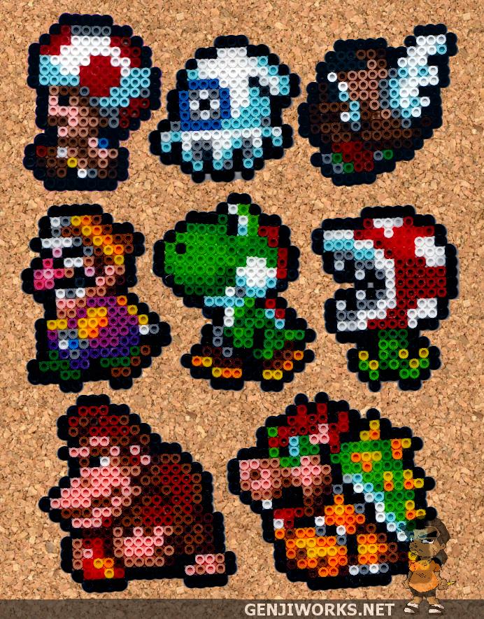 Mario Cast Members Perler By Genjiworks Perler Bead Mario