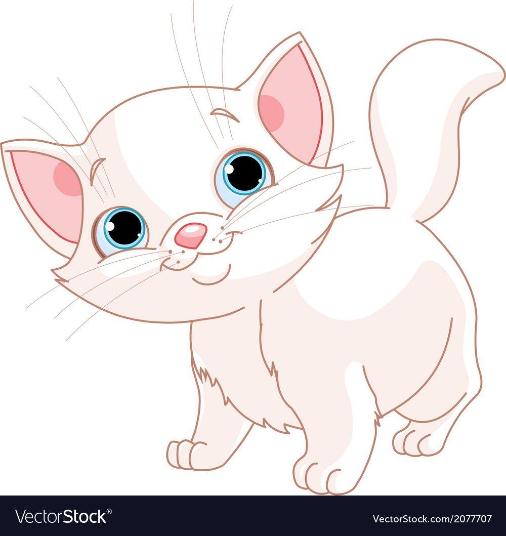 Adorable White Kitten Download A Free Preview Or High Quality Adobe Illustrator Ai Eps Pdf And H Gatos Cinzentos Desenhos De Animais Fofos Desenhos De Gatos