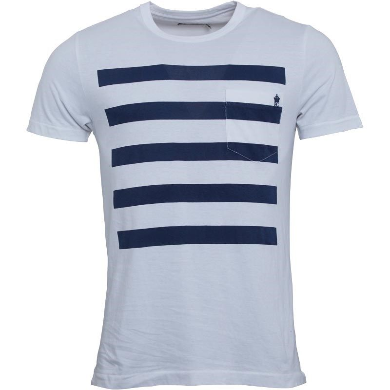 French Connection Mens 5 Stripe T-Shirt White/Marine £29.99
