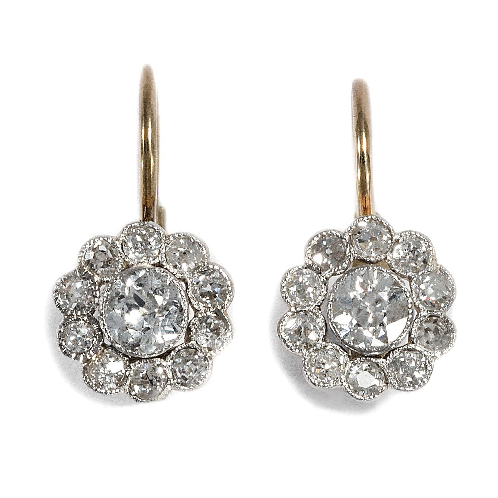 Antikschmuck  Blüten aus Licht - Traumhafte Altschliff Diamant-Ohrringe der ...