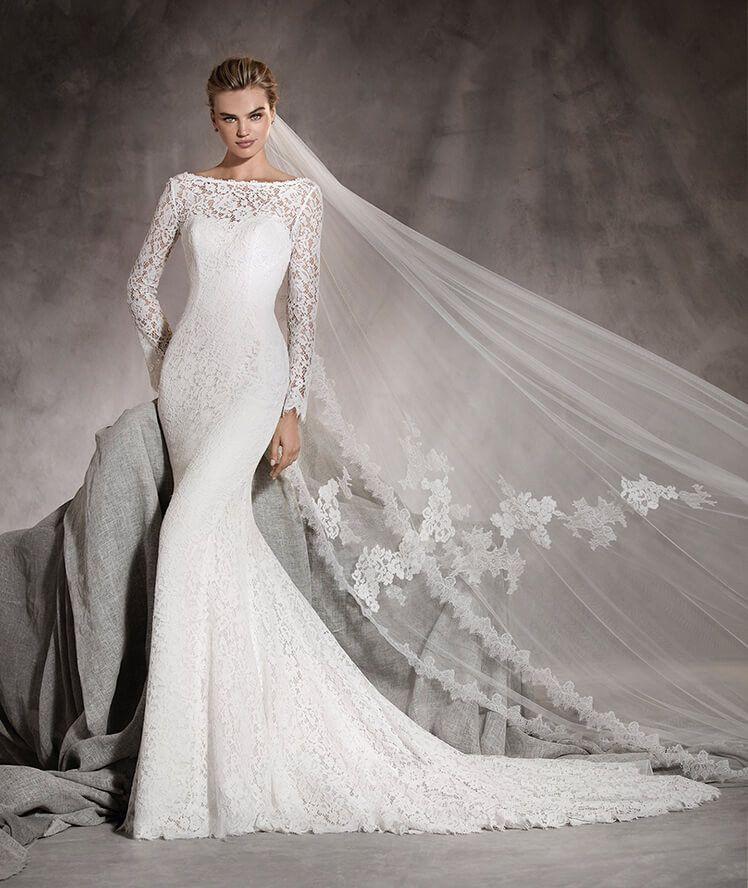 Amor - Brautkleid aus Spitze mit langen Ärmeln und U-Boot-Ausschnitt ...