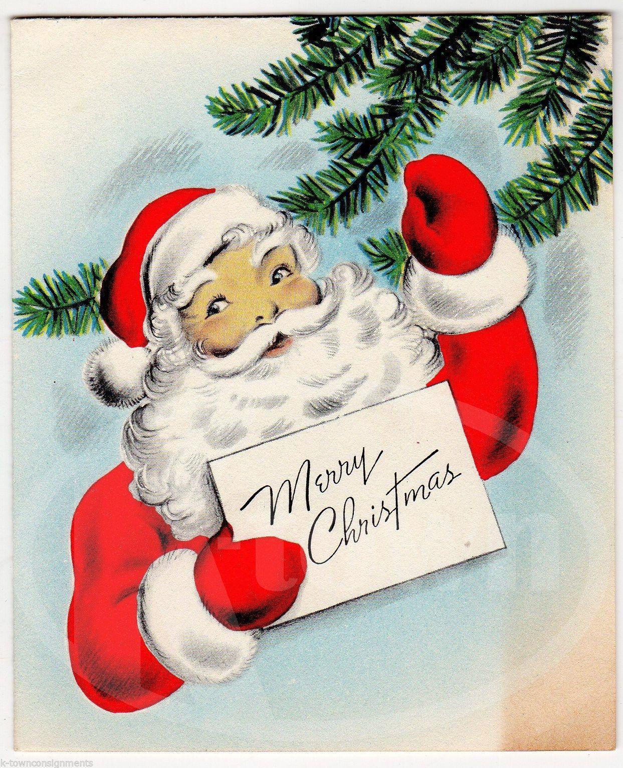 Cute Santa Claus Waving Vintage Graphic Illustrated Christmas
