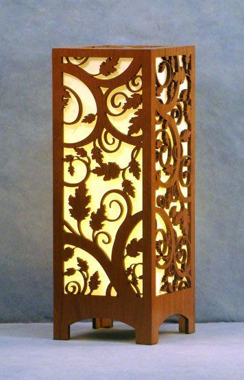 Laser cut wood accent lamp