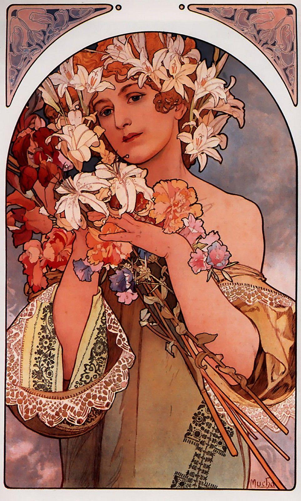 Alfons Mucha - Panneaux décoratifs : La Fleur - 1897