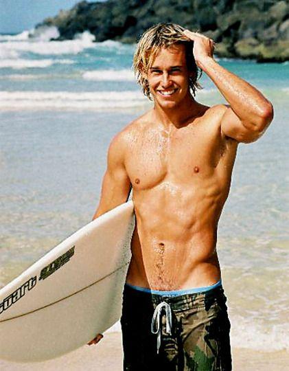 Hot Smile White Board Surfer Guys Men Blonde Hair Surfer Dude