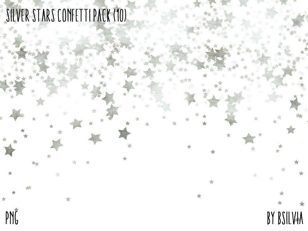 Silver Stars Confetti Backgrounds, Digital Silver Stars