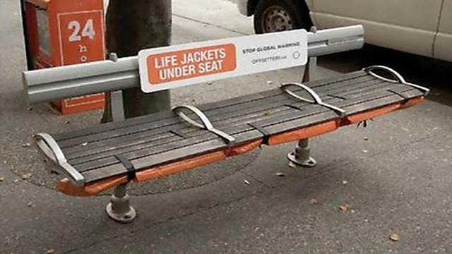 advertising, bench, creative, Examples, guerilla, inspiration, rest, Global Warming