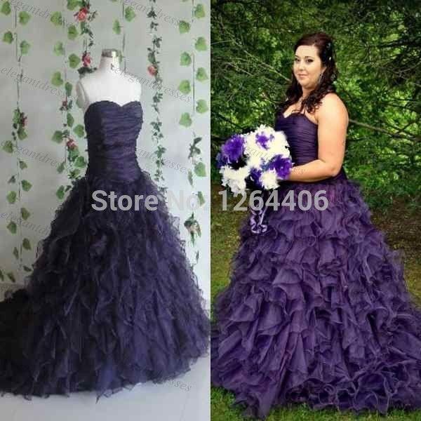 Besting Selling Purple Ruffled Plus Size Wedding Dress Wedding Dresses For  Pregnant Women,High Quality