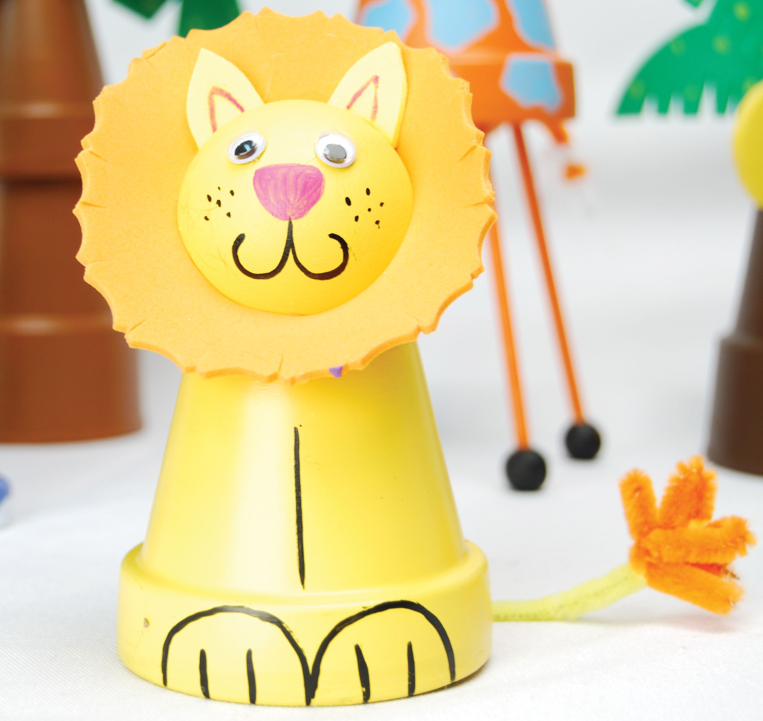 Cute Lion Made With Terra Cotta Pots And Patio Paint Kids