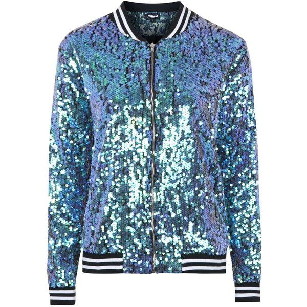 TOPSHOP **The Taylor Mermaid Sequin Bomber Jacket by Jaded London (1.005 DKK) ❤ liked on Polyvore featuring outerwear, jackets, multi, blouson jacket, blue bomber jacket, bomber jacket, topshop and sequin jacket