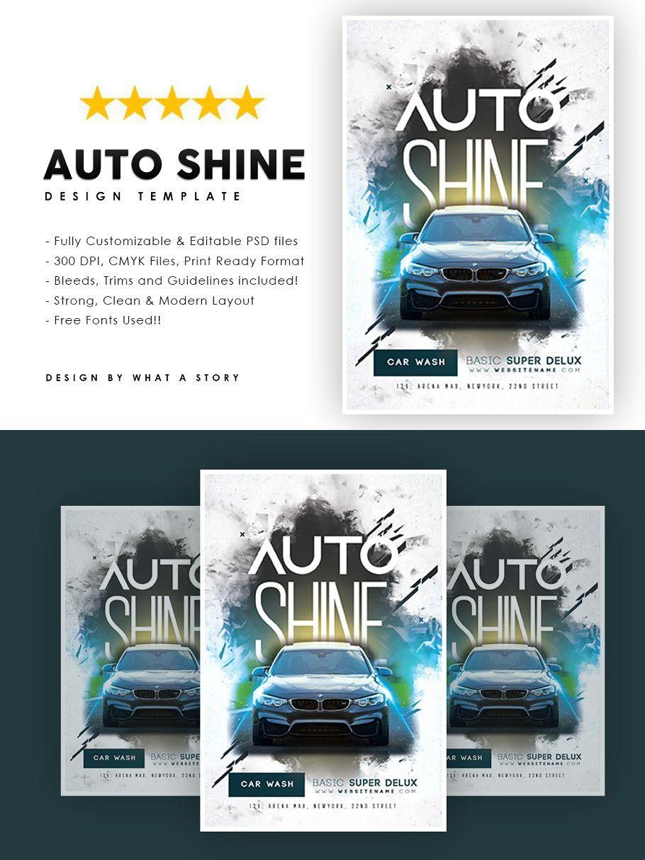 Auto Shine Flyer In 2020 Flyer Design Template Auto