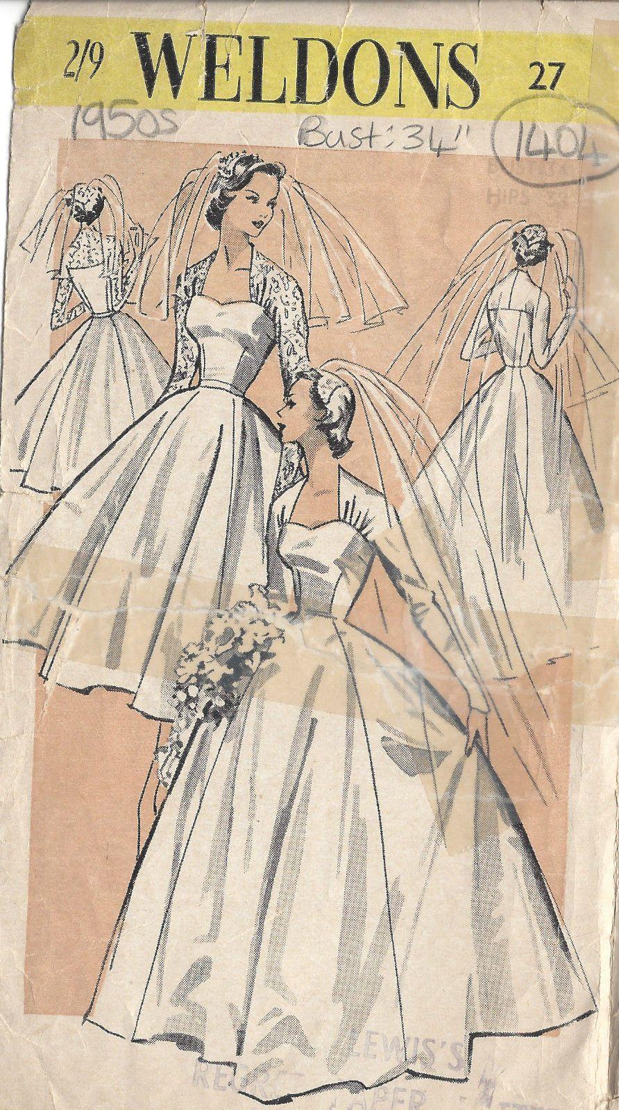 Details zu 1950s vintage Näh Muster B34 Braut Hochzeits Kleid (1404R ...