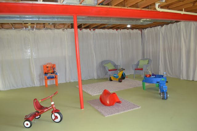 Basement Playroom Update And Wire Curtain Rod Diy Unfinished Basement Walls Basement Makeover Unfinished Basement Playroom