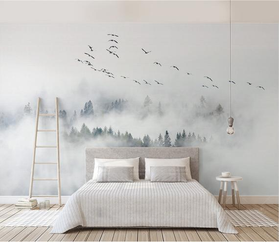 Foggy Mountain And Birds Wallpaper Removable Misty Forest Wall Etsy In 2020 Wallpaper Bedroom Home Bird Wallpaper Bedroom Forest Wall Mural