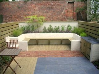 Garden Ideas Decking And Paving large outdoor seating, rendered walls, slate paving, brick paving