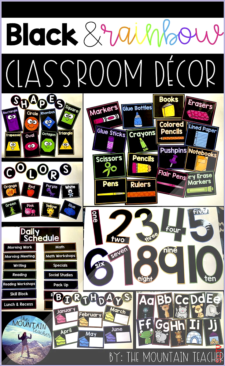 Black and Rainbow Classroom Decor Black and Rainbow Classroom Decor Bella Noire Bella Noire This cl
