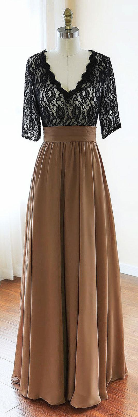Black v neck chiffon lace long prom dress black evening dress