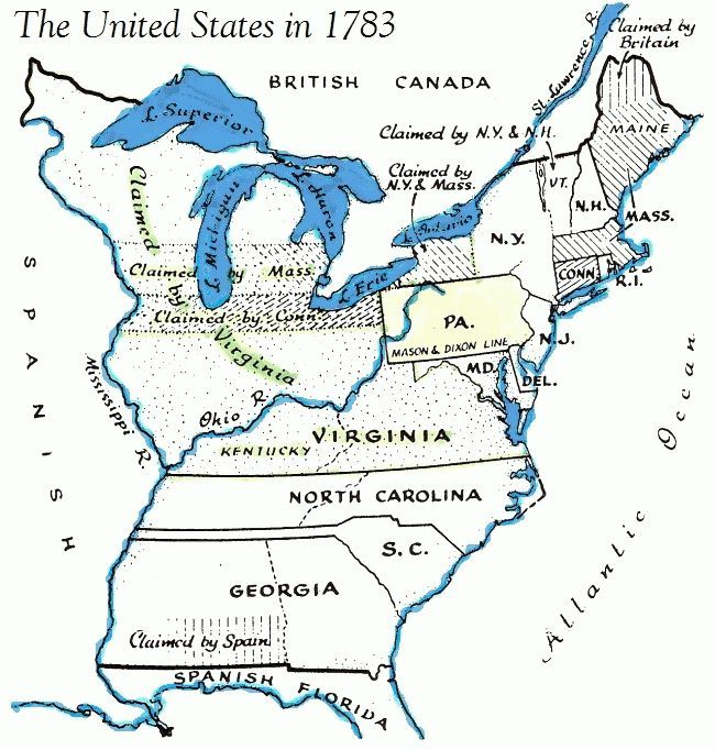 Map Usa, 1783 Painting by Granger
