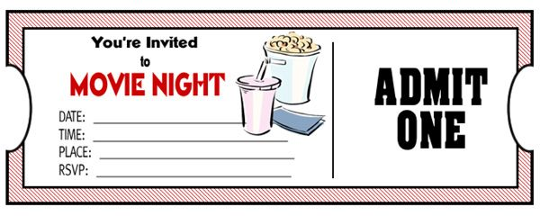 DIY tickets for movie night Family movies, Free printable and Crafty - movie ticket invitations template