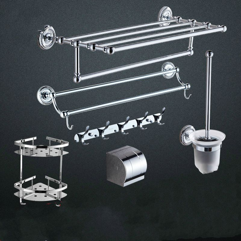 Antique Br Silver Bathroom Hardware Sets Carved Base Polished Chrome Products Mounting Accessories Tm3